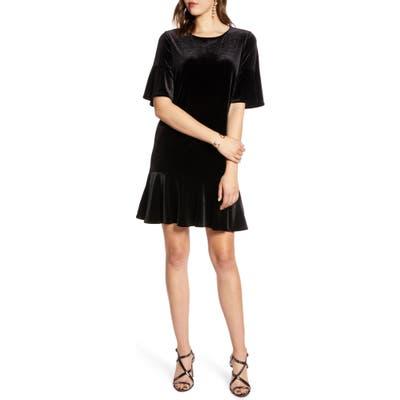 Halogen Ruffle Trim Velvet Dress, Black