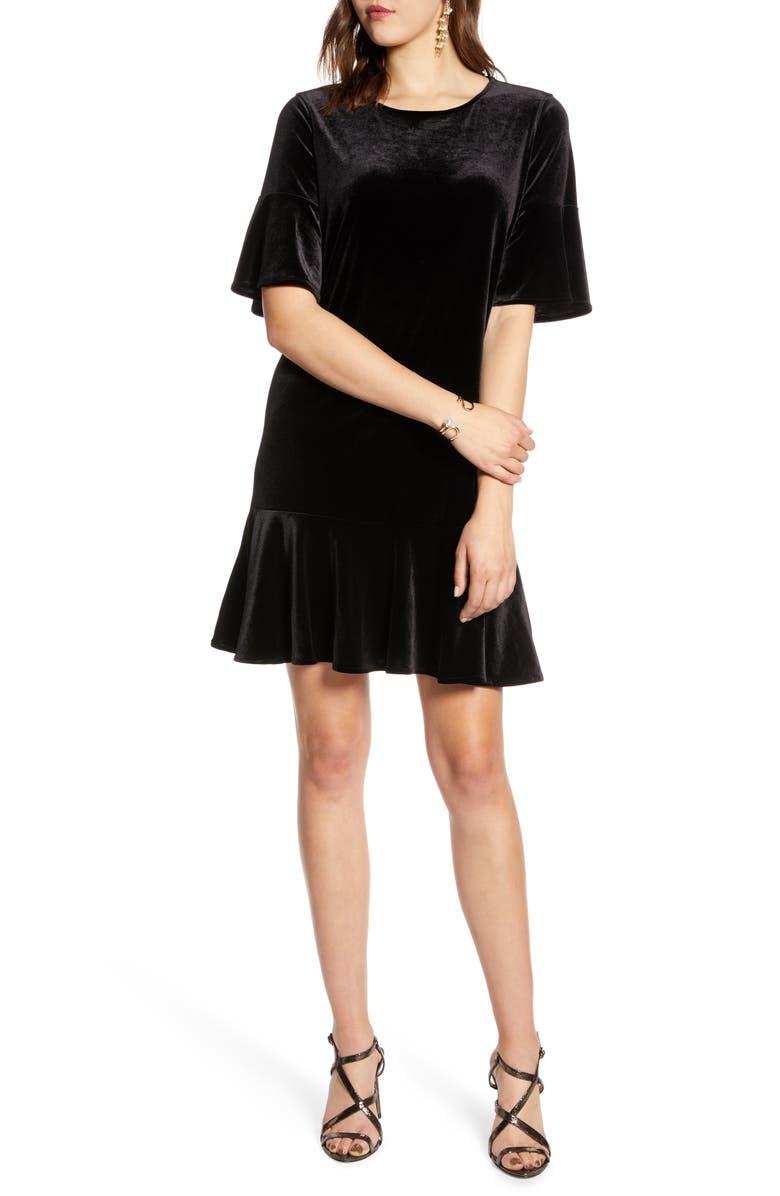 HALOGEN<SUP>®</SUP> Ruffle Trim Velvet Dress, Main, color, BLACK