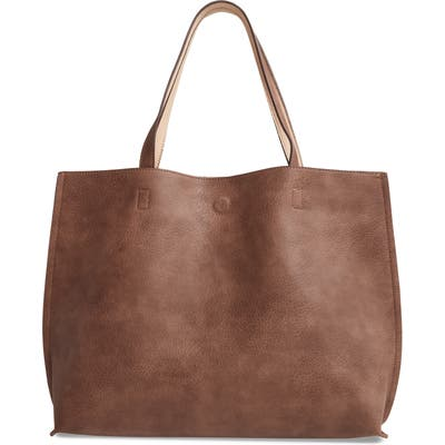 Street Level Reversible Faux Leather Tote & Wristlet - Brown