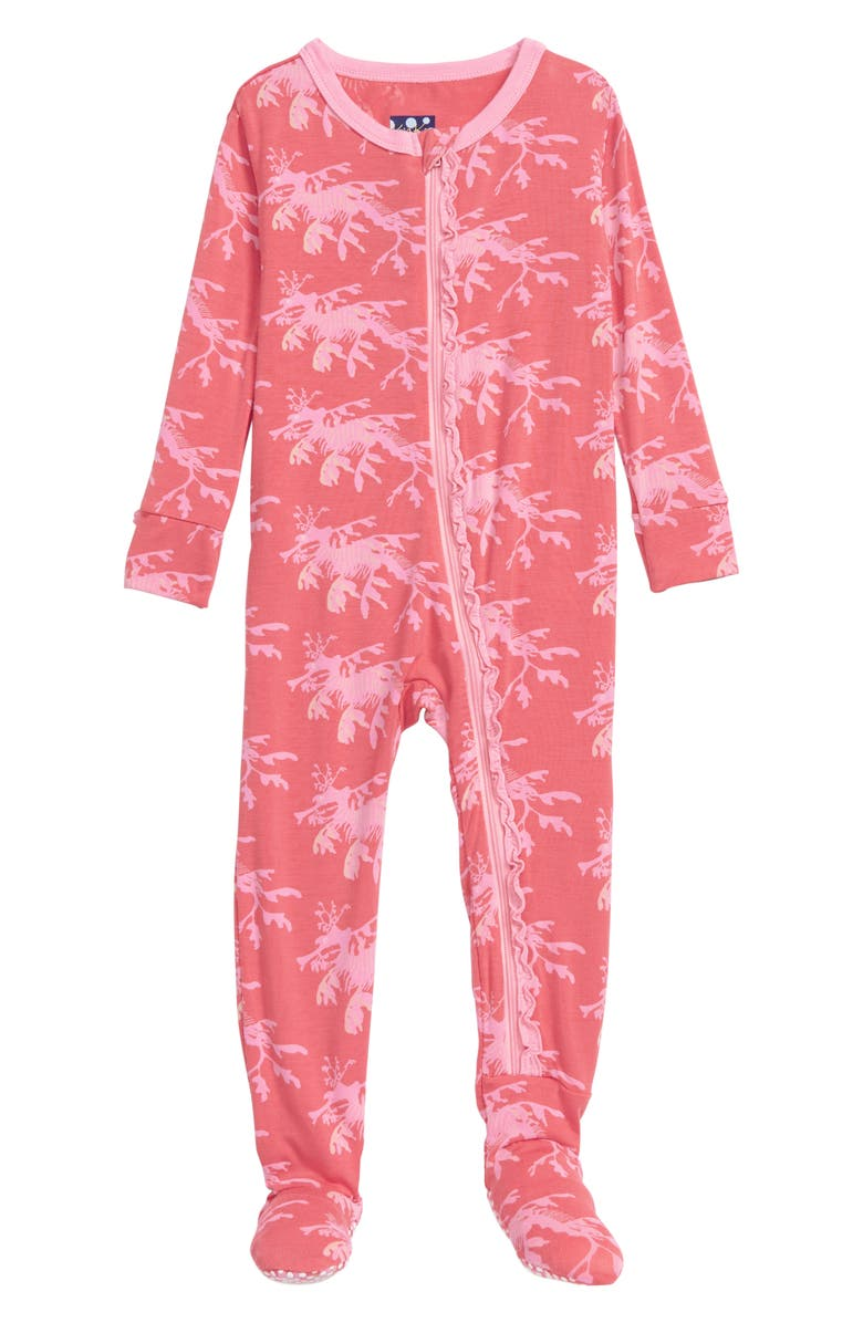 KICKEE PANTS Muffin Ruffle Seahorse Print Footie, Main, color, ENGLISH ROSE/ LEAFY SEA