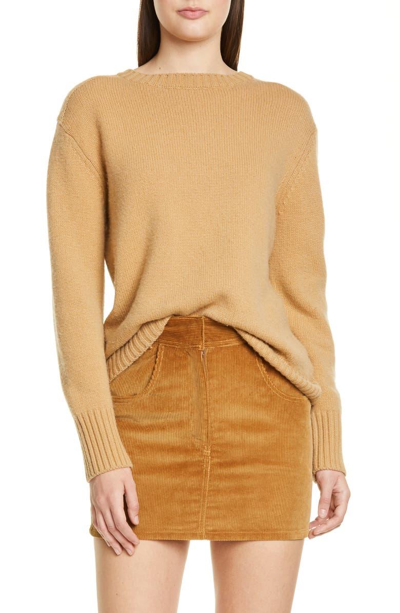 RE/DONE '40s Crewneck Sweater, Main, color, CAMEL