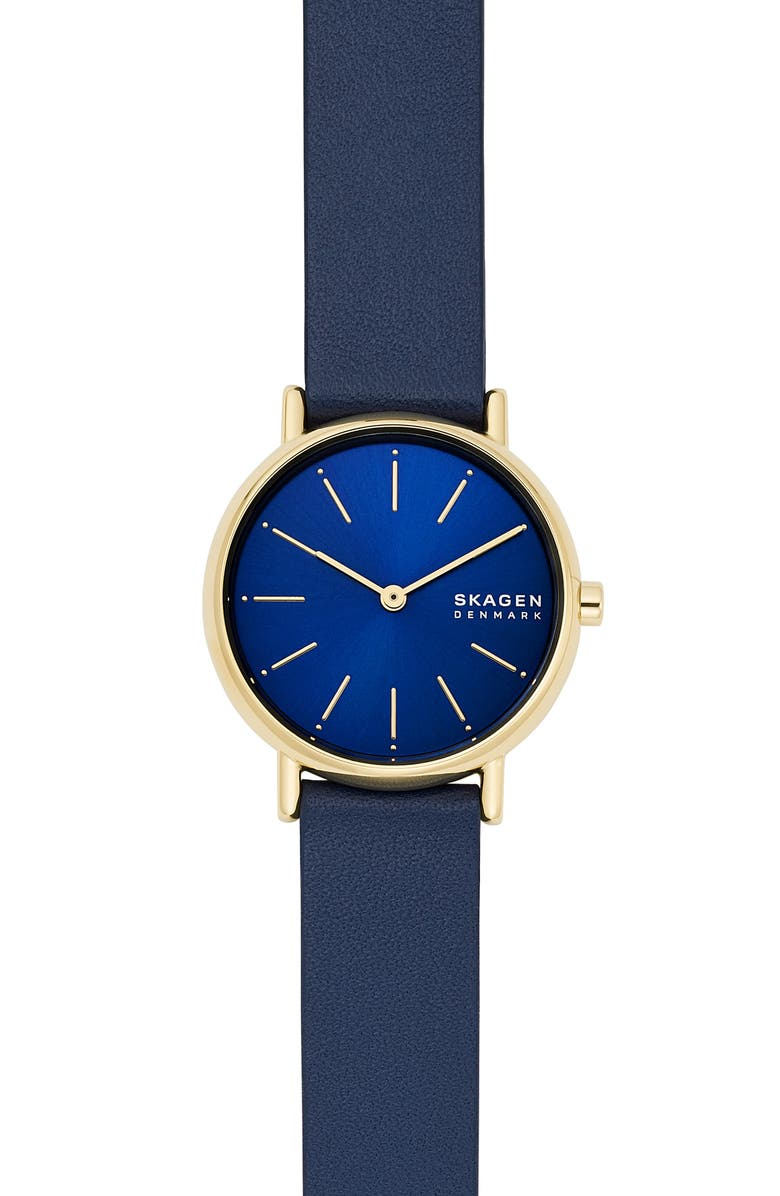 SKAGEN Signatur Leather Strap Watch, 30mm, Main, color, BLUE/ GOLD