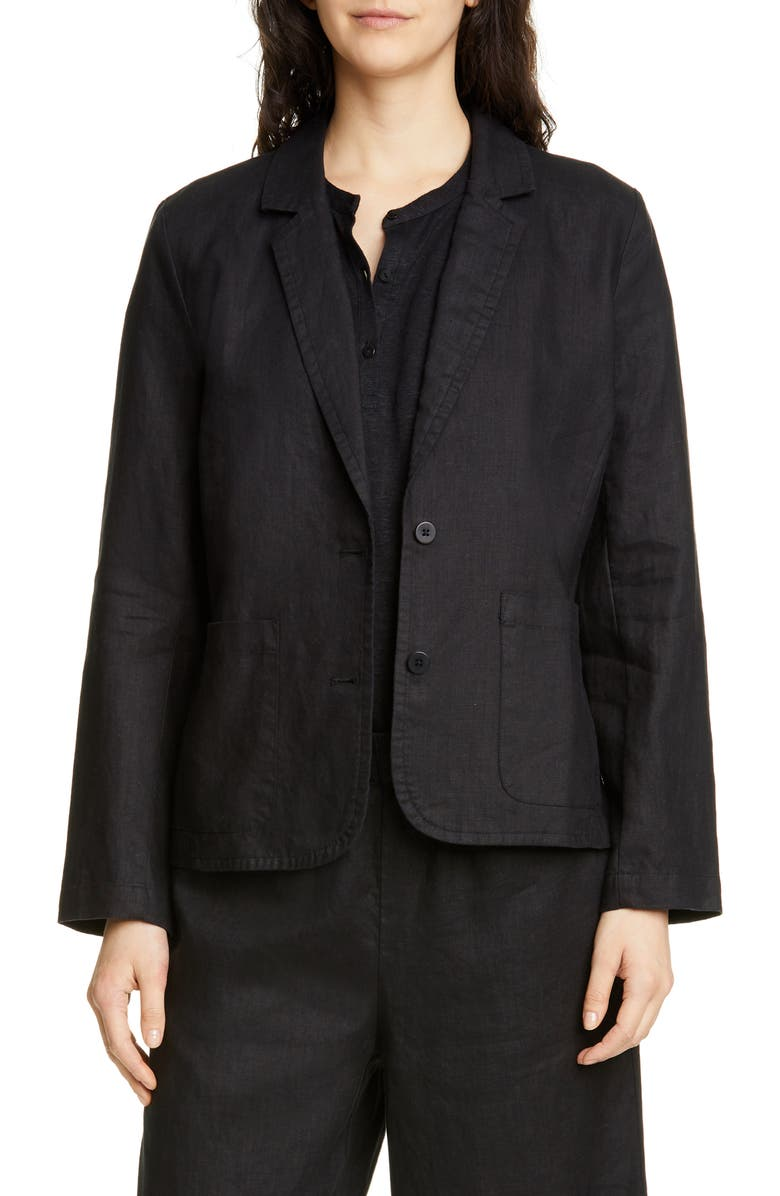 EILEEN FISHER Organic Linen Blazer, Main, color, 001