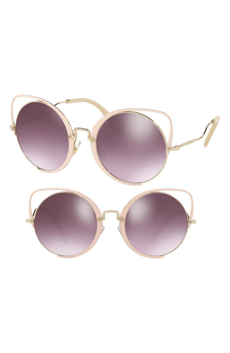MIU MIU 54mm Round Lens Cat Eye Sunglasses, Main, color, PEACH