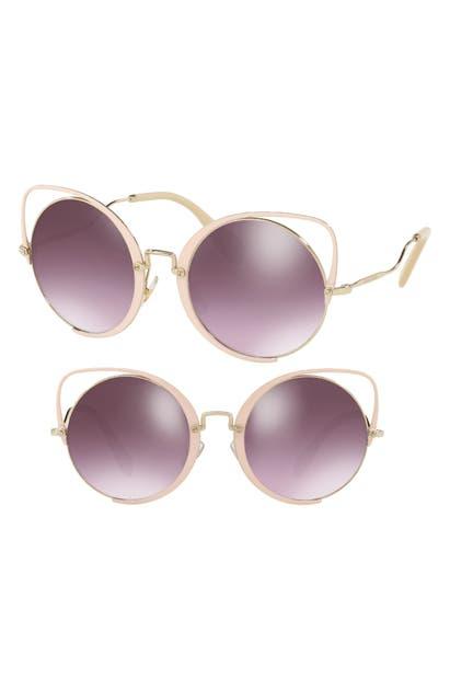 Miu Miu 54mm Round Lens Cat Eye Sunglasses In Peach