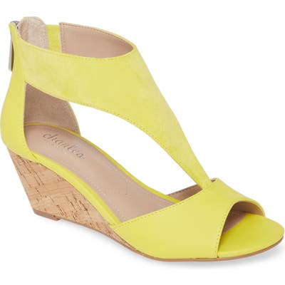 Charles By Charles David Gallo T-Strap Wedge Sandal, Yellow