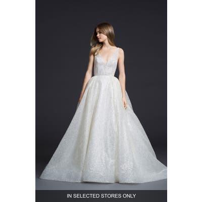 Lazaro Glitter Tulle Ballgown, Size - Ivory