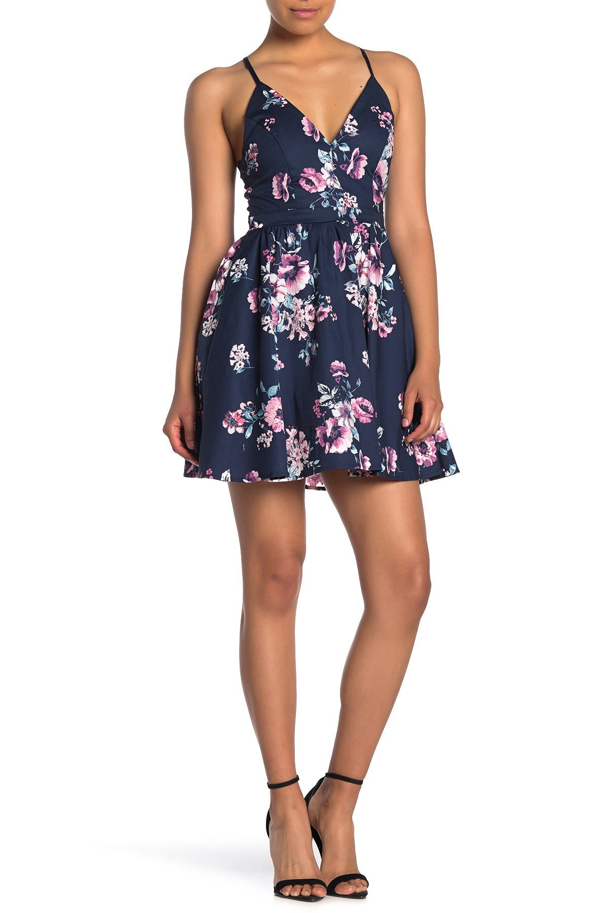 Image of Love, Nickie Lew Floral Print Lace Back Skater Dress