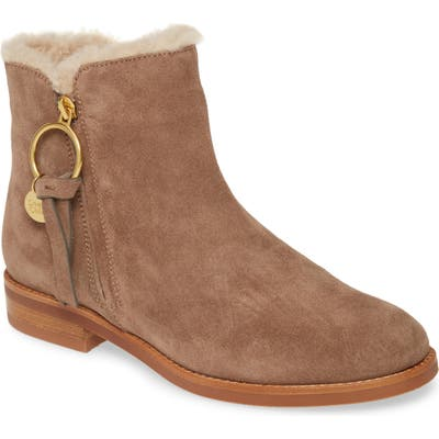 See By Chloe Louise Genuine Shearling Lined Flat Bootie, Beige