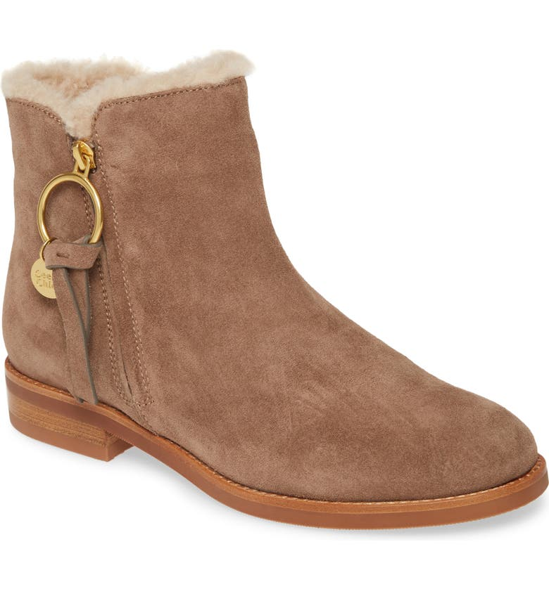 SEE BY CHLOÉ Louise Genuine Shearling Lined Flat Bootie, Main, color, TAUPE
