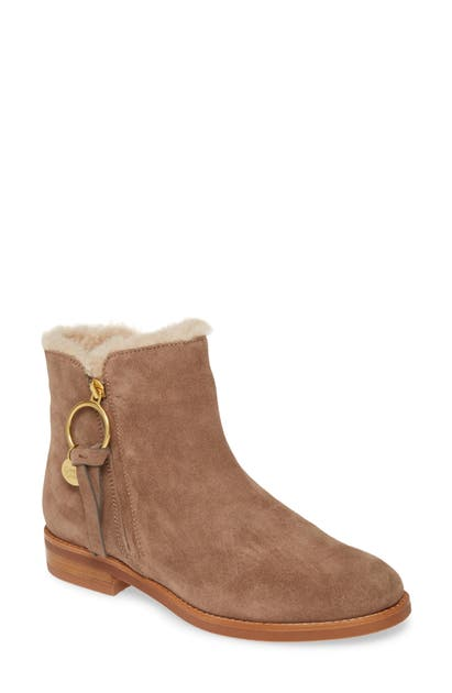 See By Chloé LOUISE GENUINE SHEARLING LINED FLAT BOOTIE