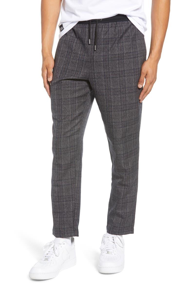 NATIVE YOUTH Umbra Plaid Pants, Main, color, GREY