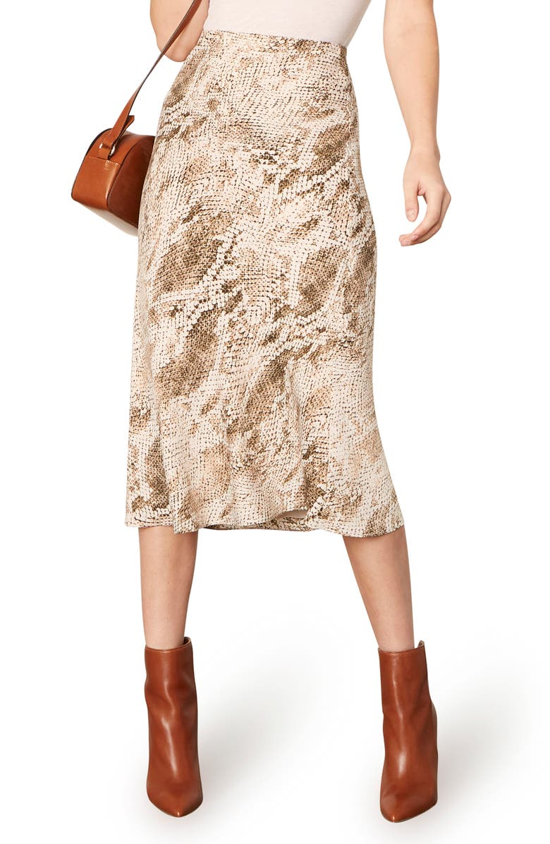 CUPCAKES AND CASHMERE Linda Snake Print Skirt, Main, color, BIRCH WHITE