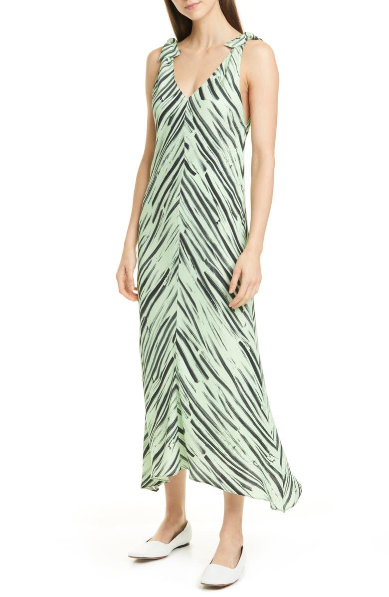 PROENZA SCHOULER WHITE LABEL Brushstroke Print Georgette Dress, Main, color, 344