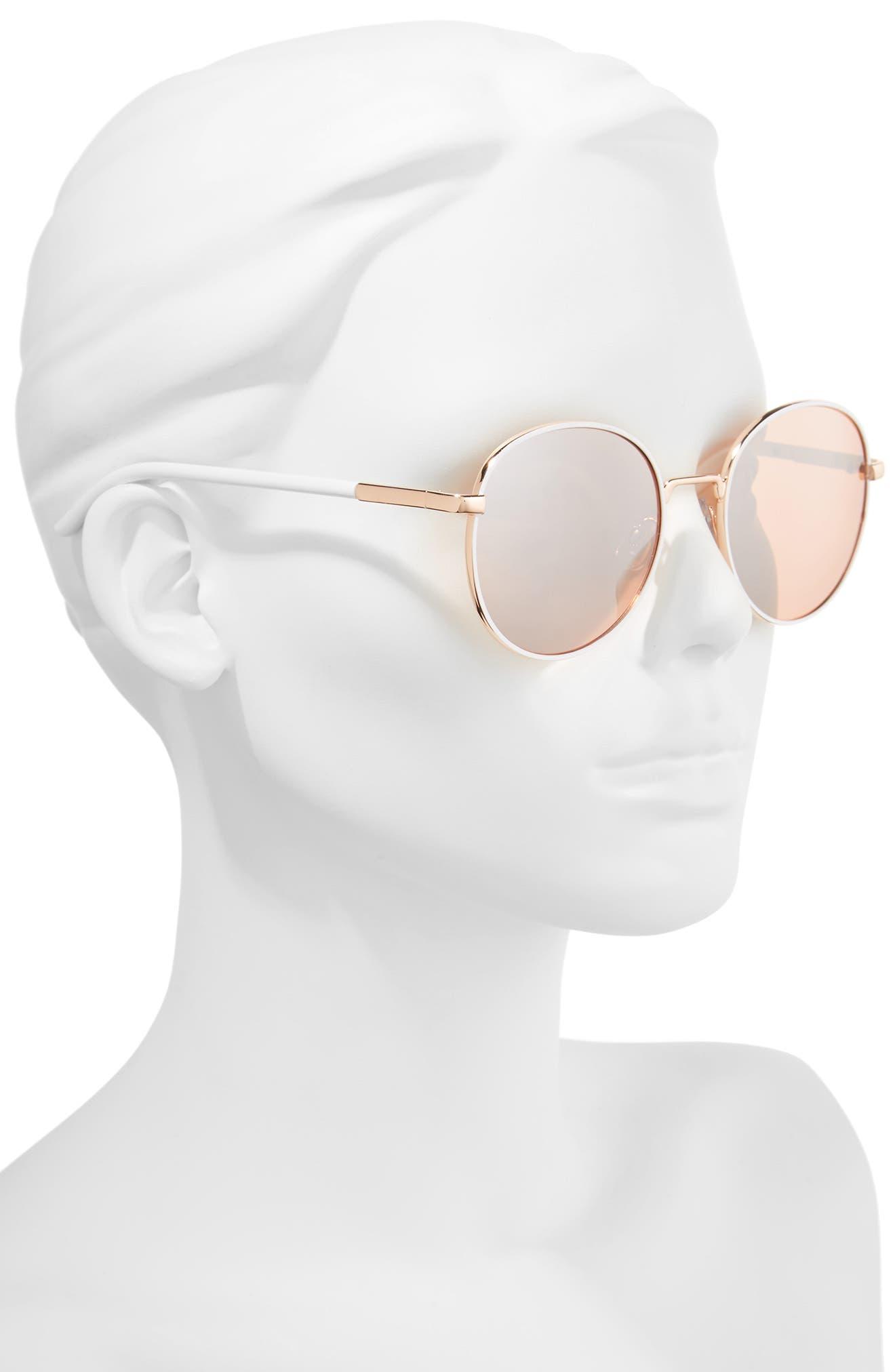 ,                             55mm Round Sunglasses,                             Alternate thumbnail 2, color,                             WHITE/ ROSE GOLD