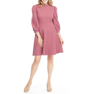 Gal Meets Glam Collection Maggie Texture Knit Fit & Flare Dress, Pink (Nordstrom Exclusive)