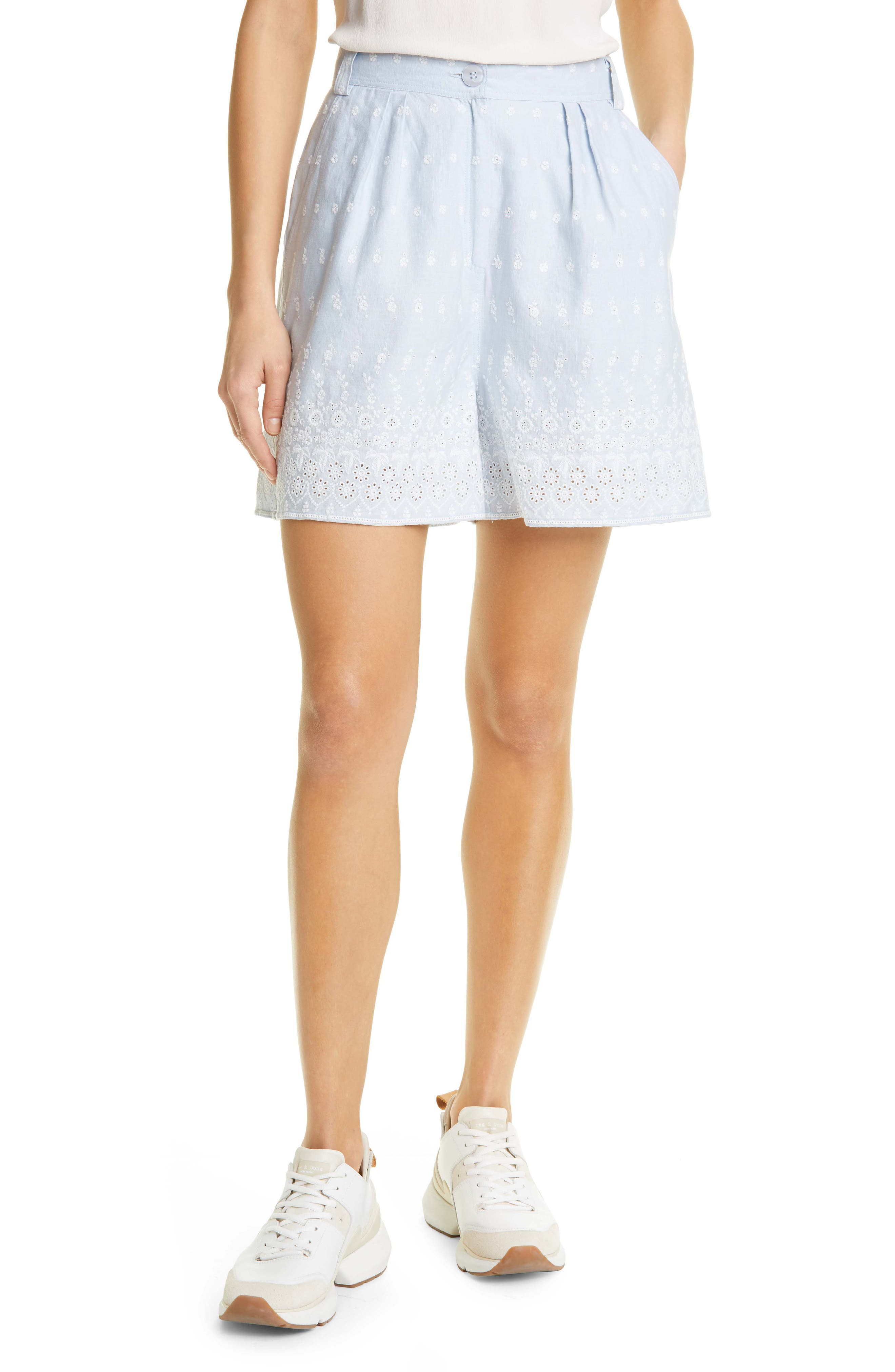 Broderie Anglaise Pleated Linen Blend Shorts