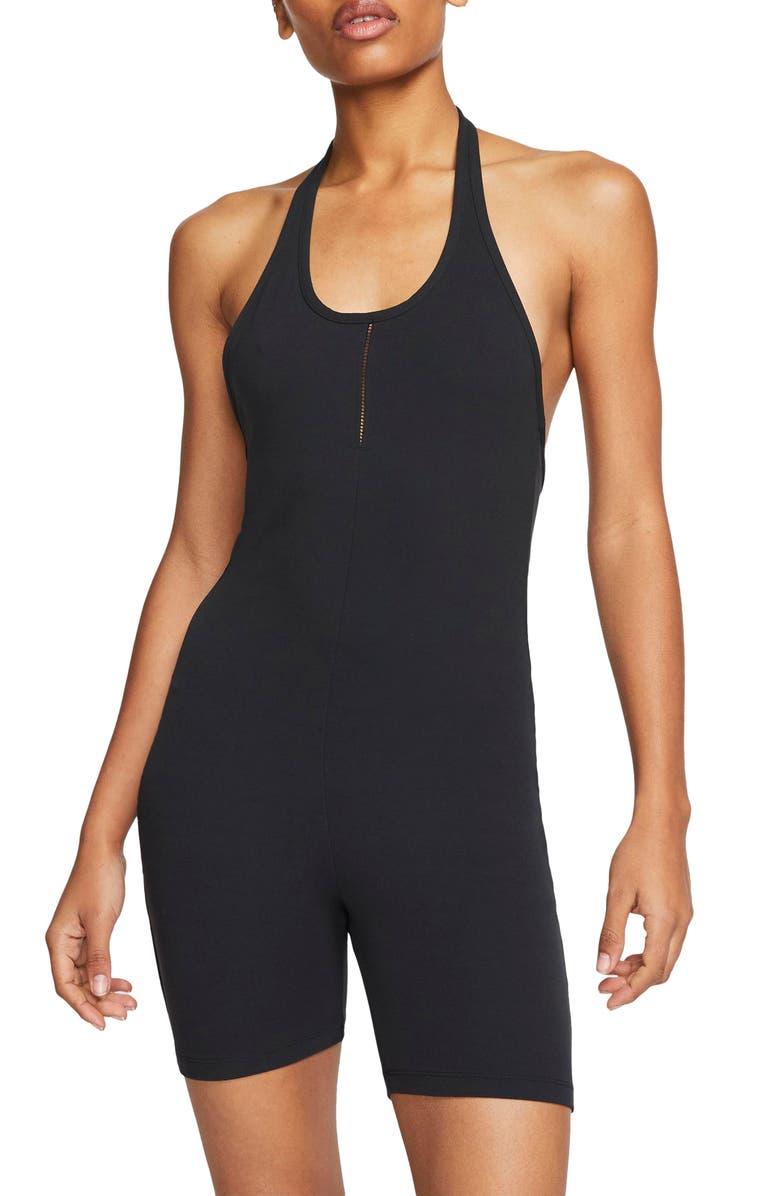 NIKE Yoga Luxe Dri-FIT Halter Romper, Main, color, BLACK/ DARK SMOKE GREY