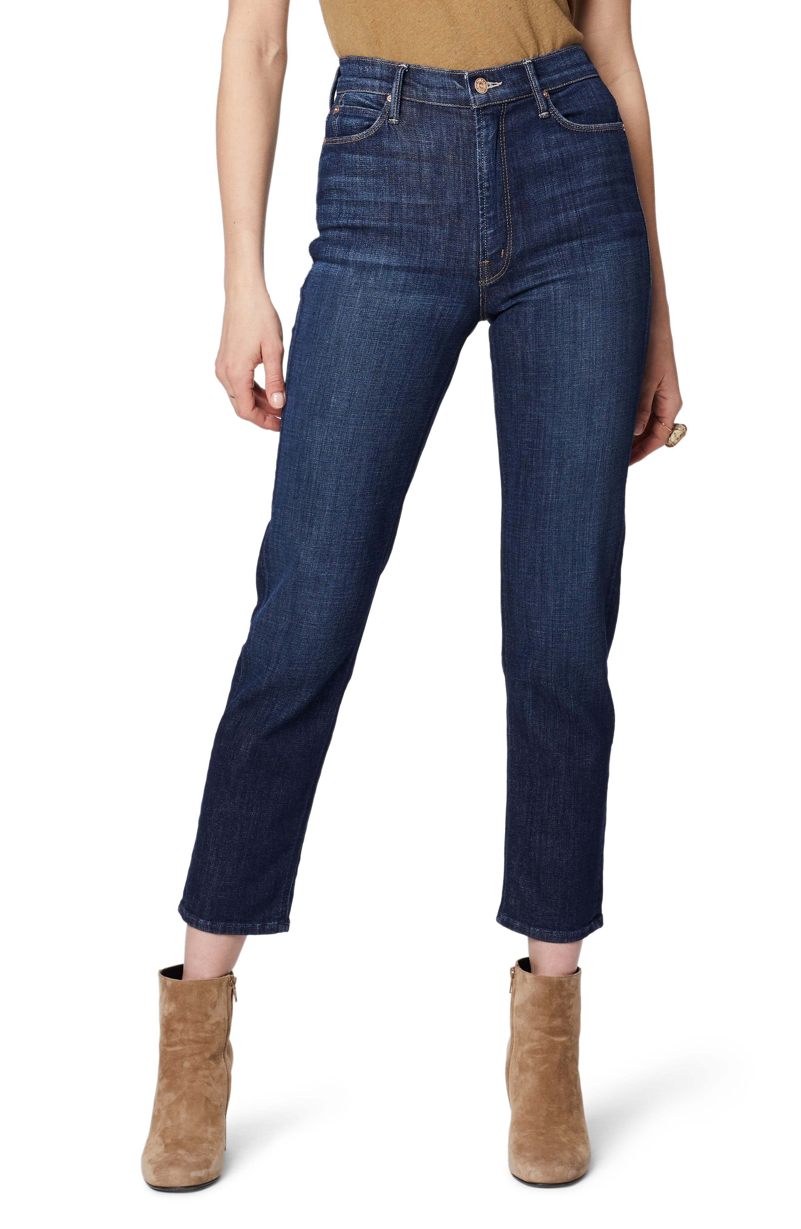 MOTHER The Dazzler High Waist Ankle Straight Leg Jeans (Clean Sweep)