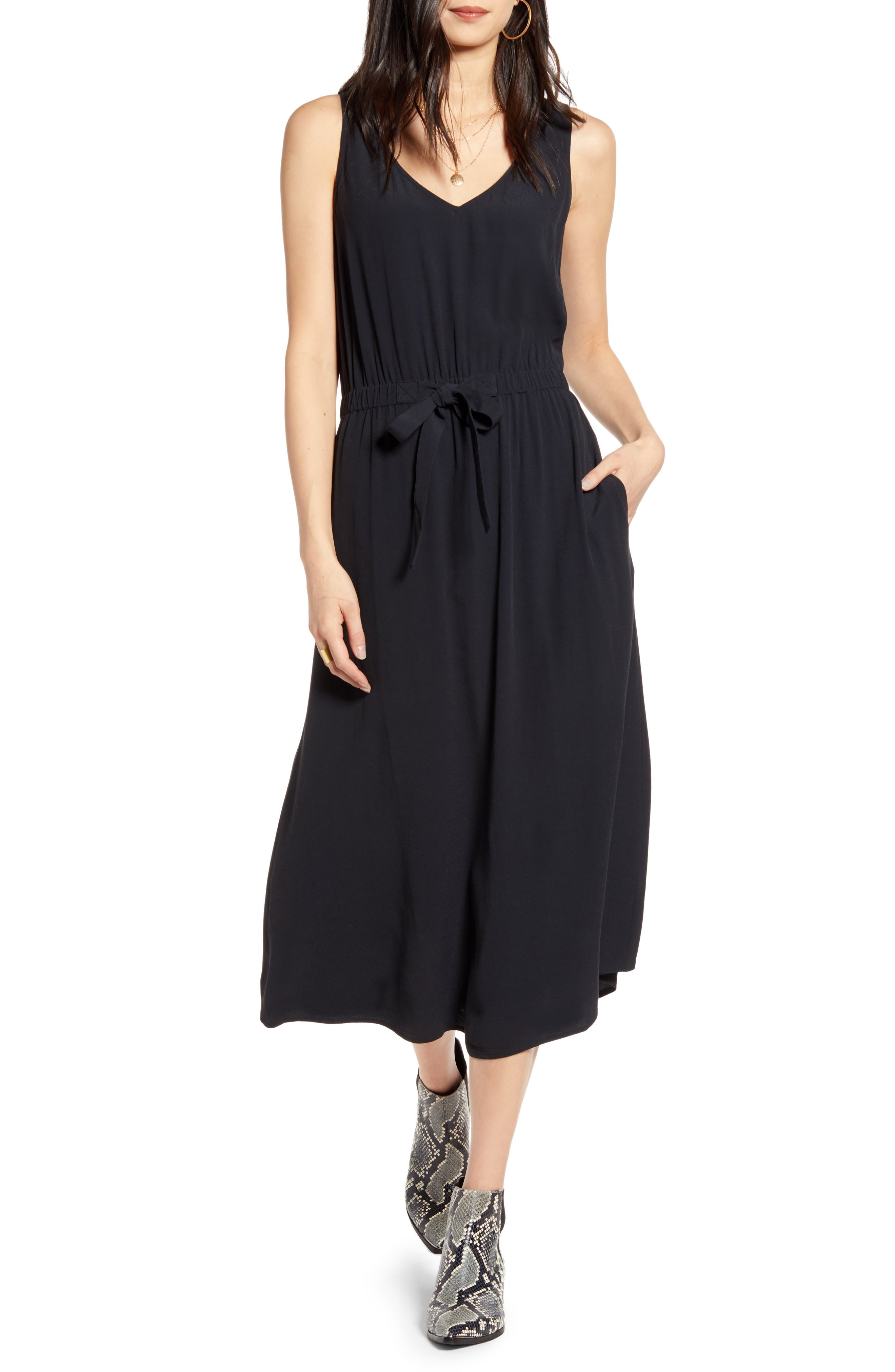 Easy and polished, this sleeveless tie-waist midi takes you from brunches to vacations to date nights. When you buy Treasure & Bond, Nordstrom will donate 2.5% of net sales to organizations that work to empower youth. Style Name: Treasure & Bond Sleeveless Tie Waist Midi Dress. Style Number: 5948910. Available in stores.