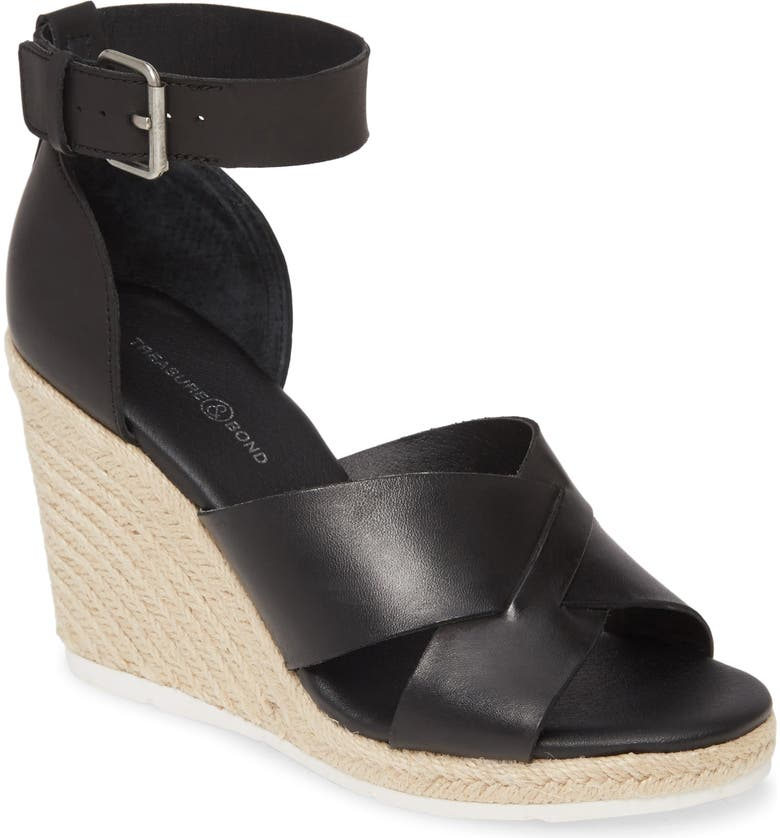 TREASURE & BOND Poppy Espadrille Wedge Sandal, Main, color, BLACK LEATHER