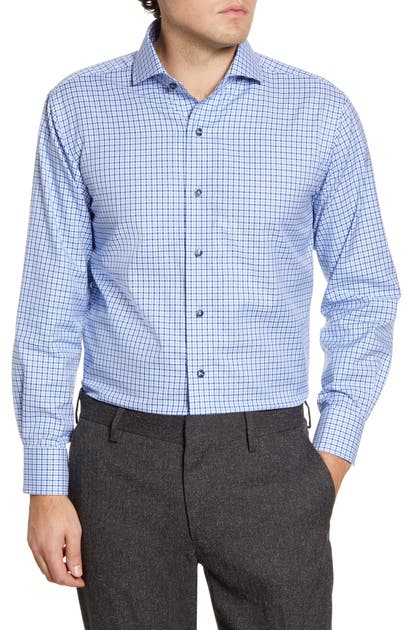 Lorenzo Uomo Trim Fit Plaid Dress Shirt In Navy/ Light Blue