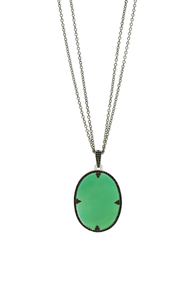 FREIDA ROTHMAN Industrial Finish Double Chain Necklace, Main, color, SILVER/ GREEN