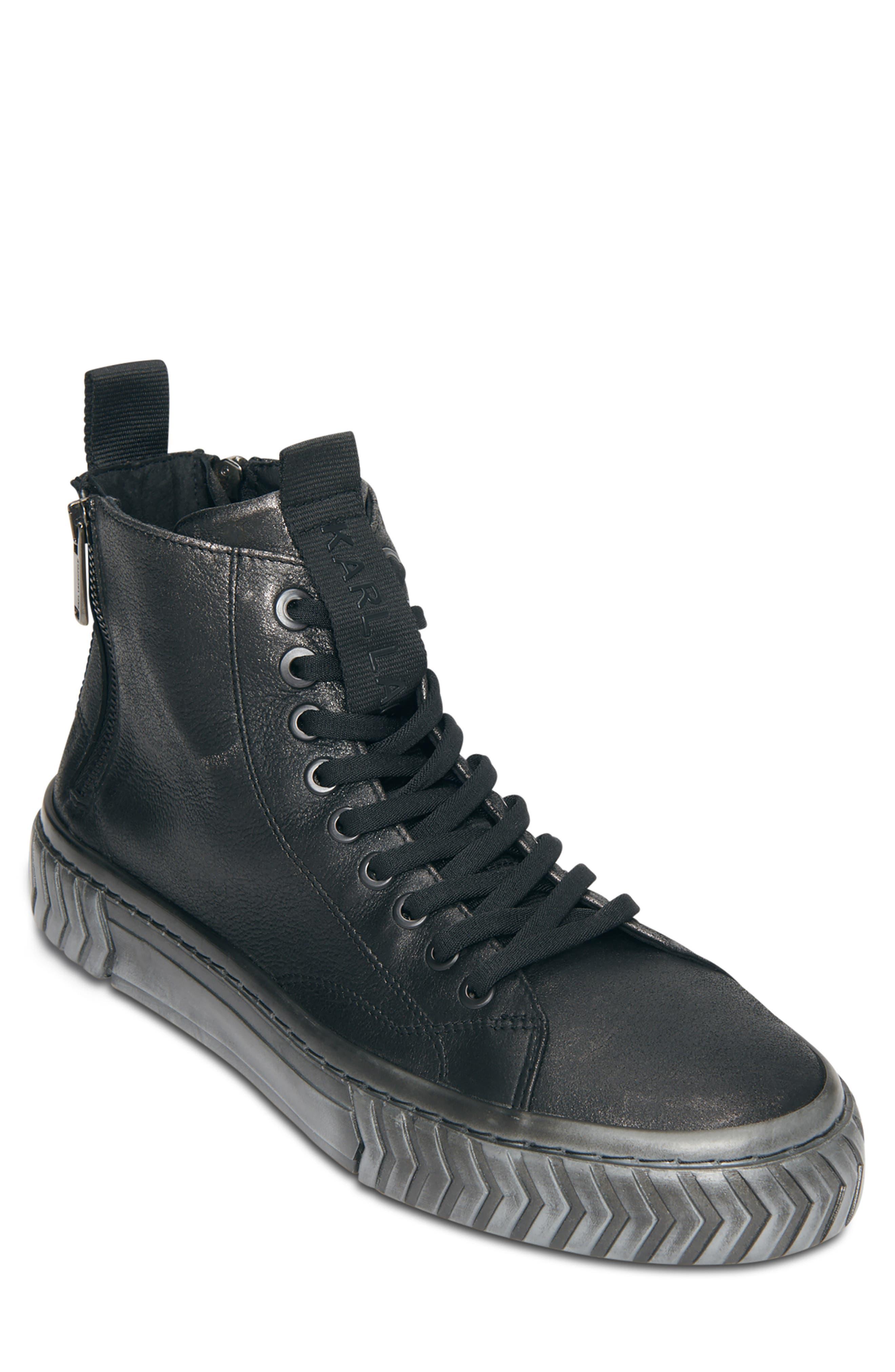 Metallic Leather High Top Sneaker