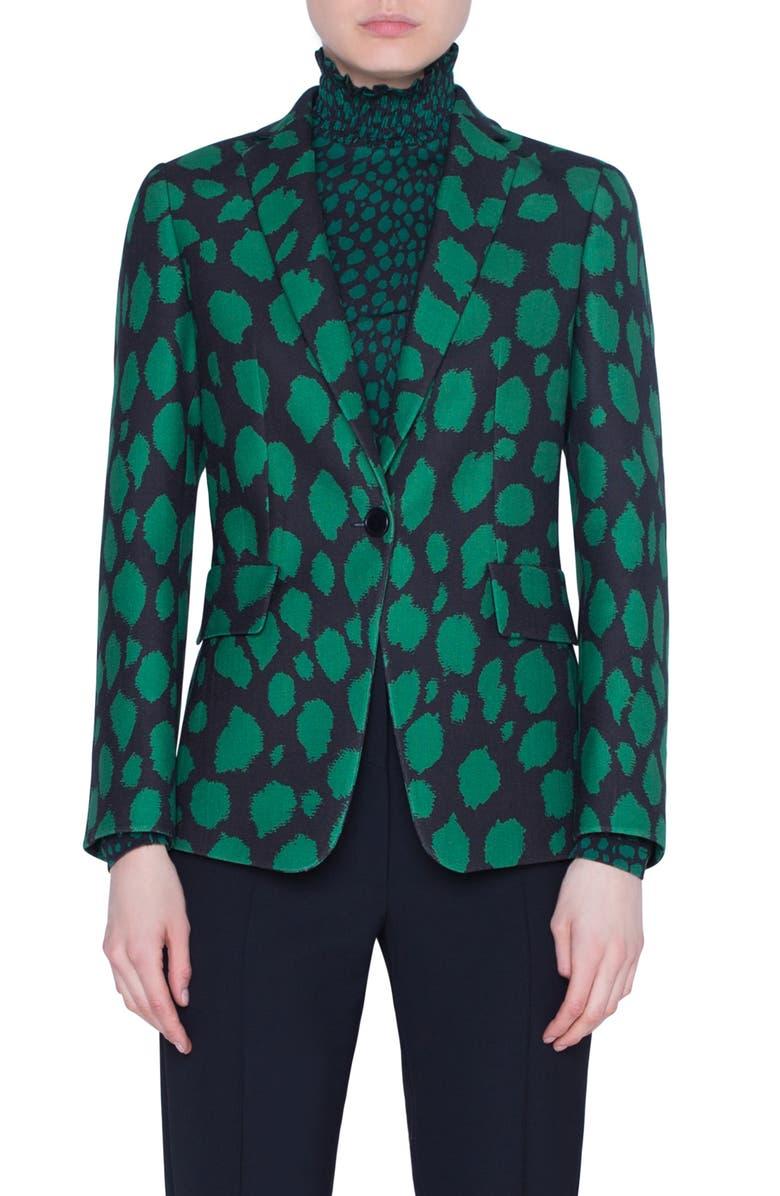 AKRIS PUNTO Animal Dot Print Wool Jersey Jacket, Main, color, BLACK/ EMERALD