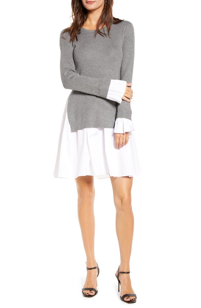 ENGLISH FACTORY Combo Knit & Poplin Dress, Main, color, HEATHER GREY