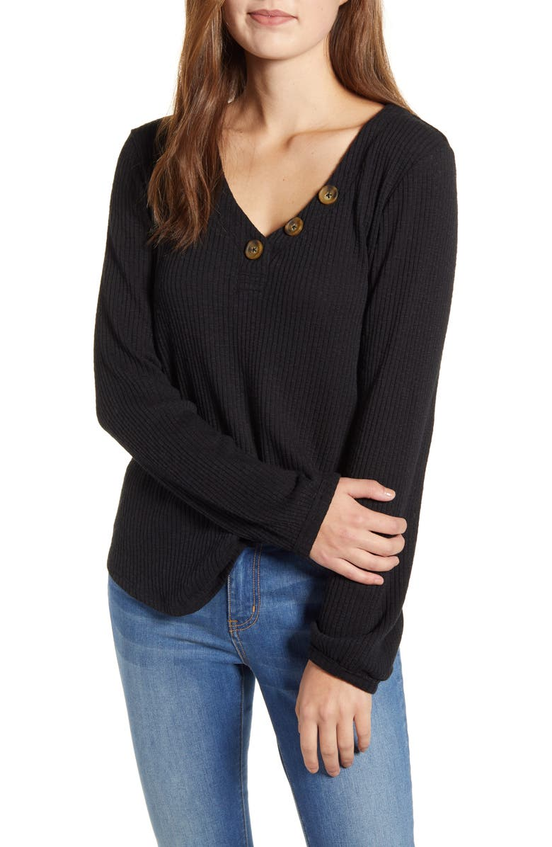 CASLON<SUP>®</SUP> Ribbed Henley Top, Main, color, BLACK