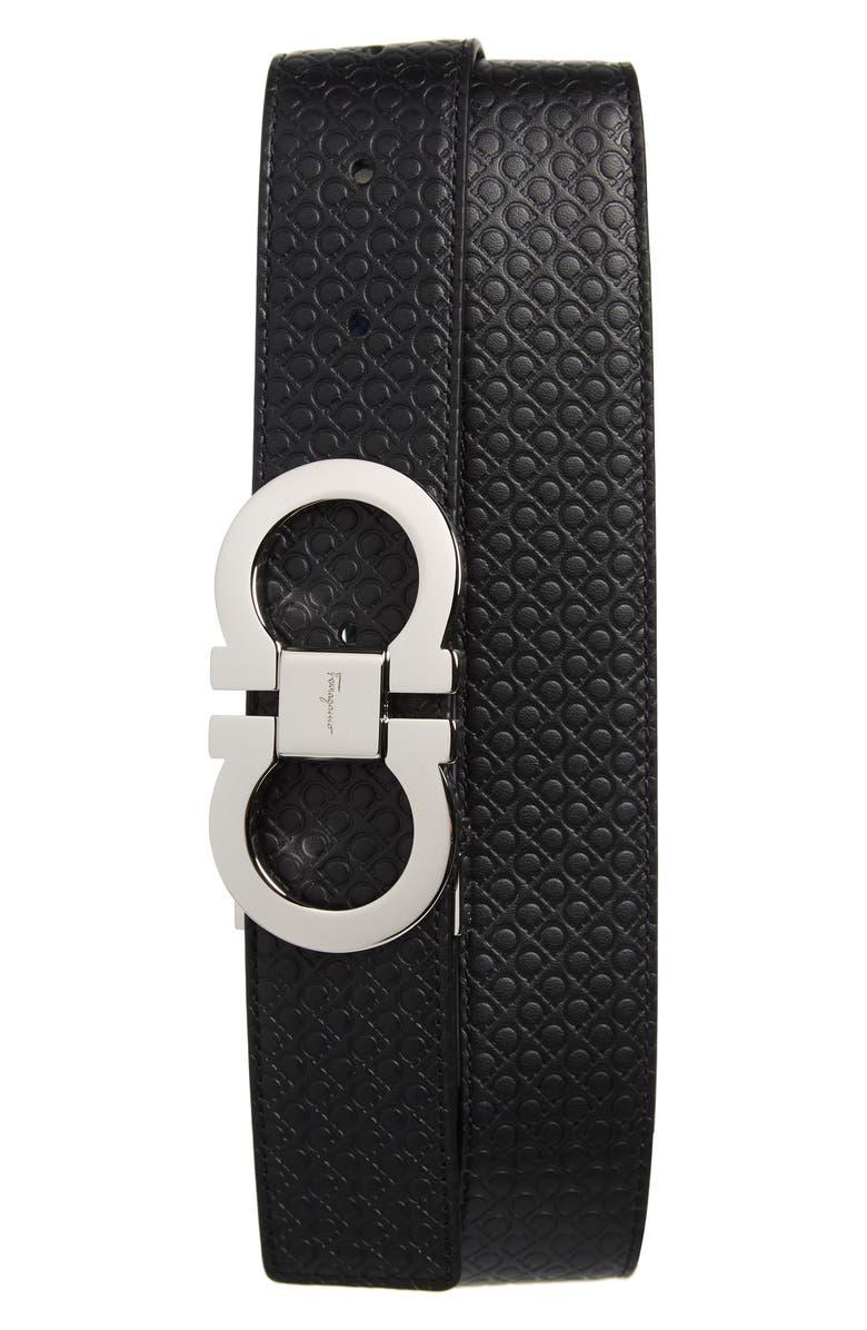 SALVATORE FERRAGAMO Gancini Embossed Reversible Leather Belt, Main, color, BLACK/ NAVY