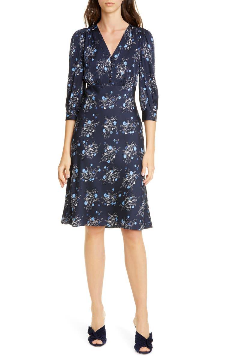 NORDSTROM SIGNATURE Floral Stretch Silk Dress, Main, color, 410