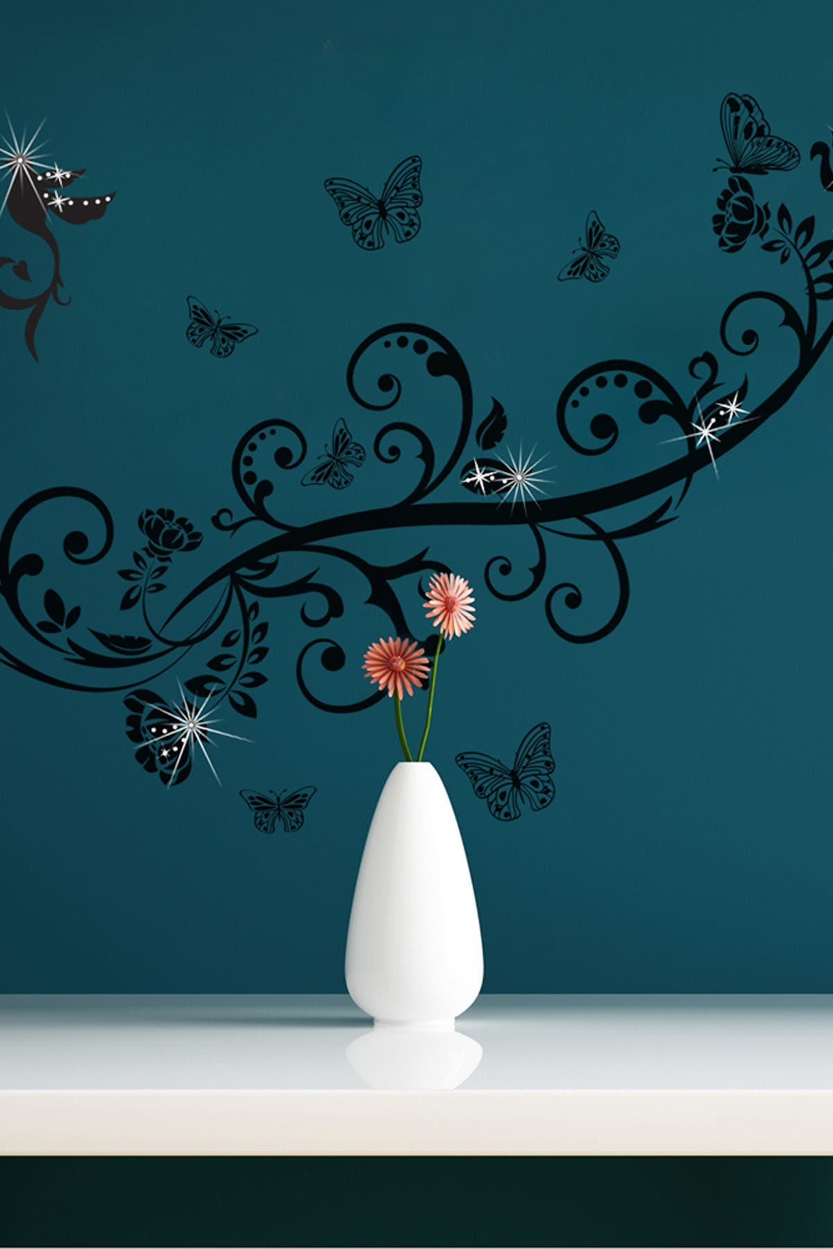 Image of WalPlus Swarovski Crystal Accented Butterfly Vine Decal