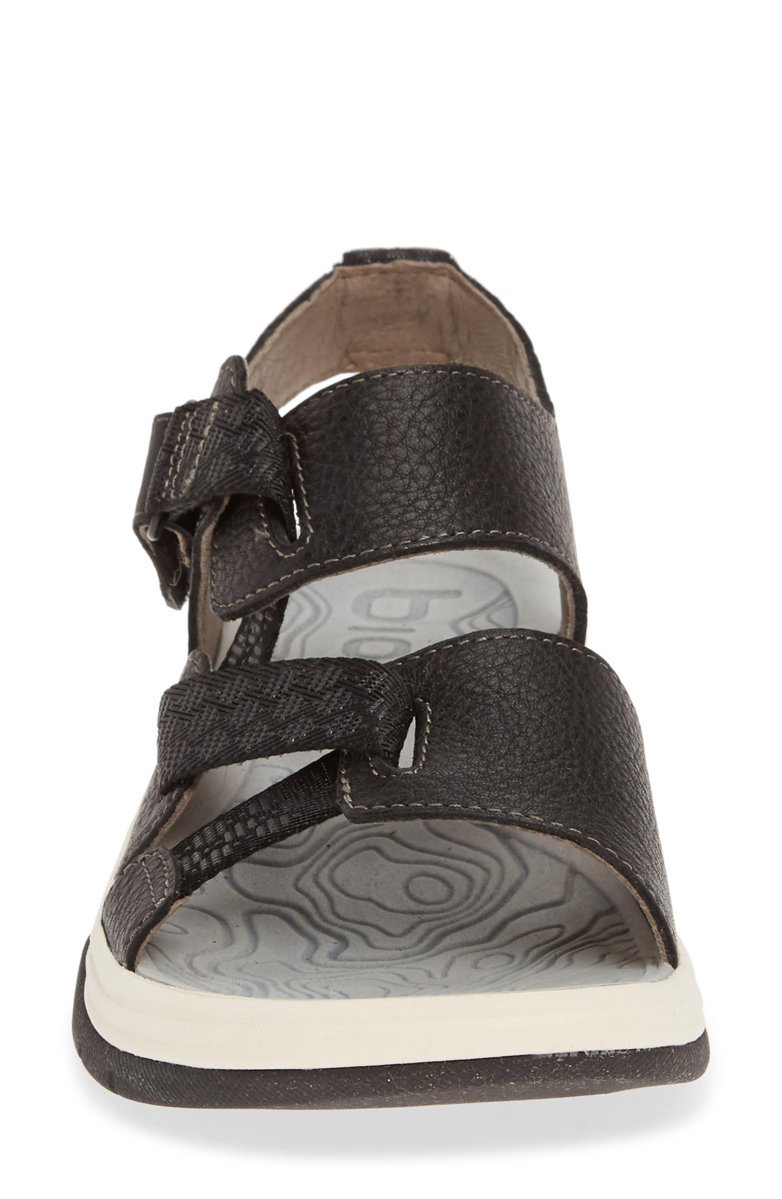 ,                             Nahla Water Friendly Sandal,                             Alternate thumbnail 4, color,                             BLACK LEATHER