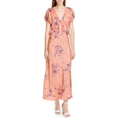 Loveshackfancy Lillian Floral Silk Maxi Dress, Pink
