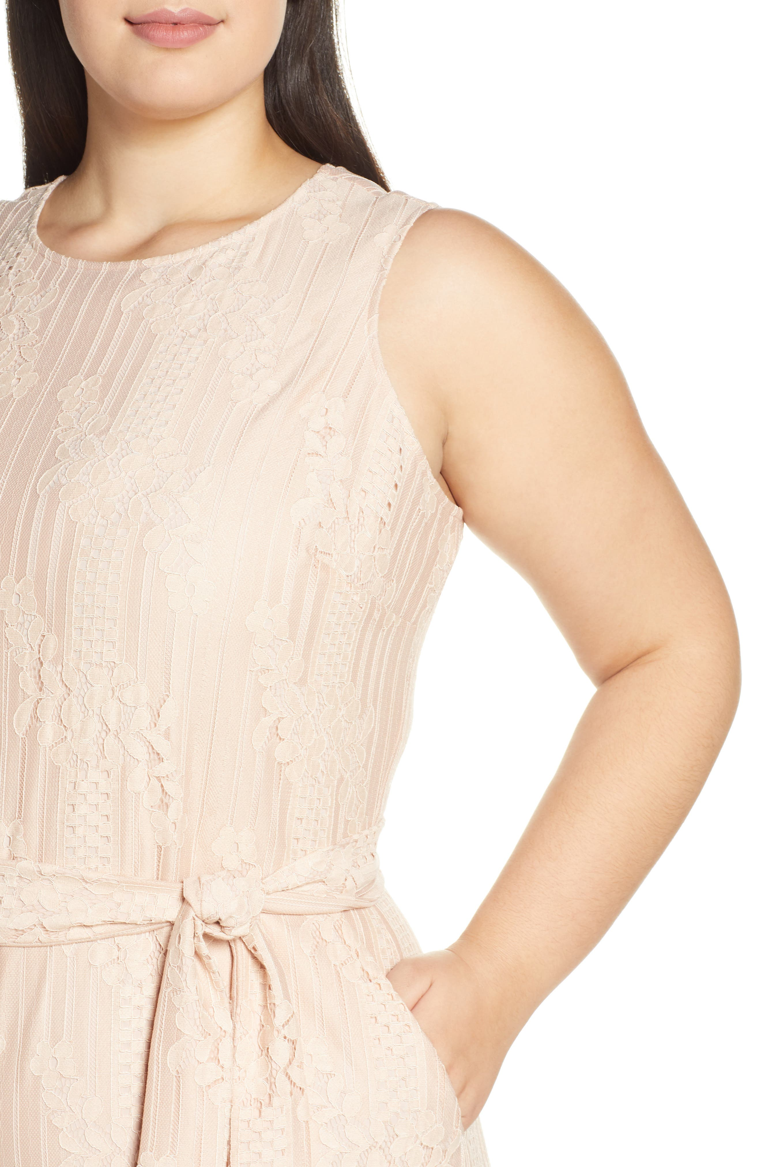 ,                             Lace Belted Jumpsuit,                             Alternate thumbnail 5, color,                             PEACH BELLINI