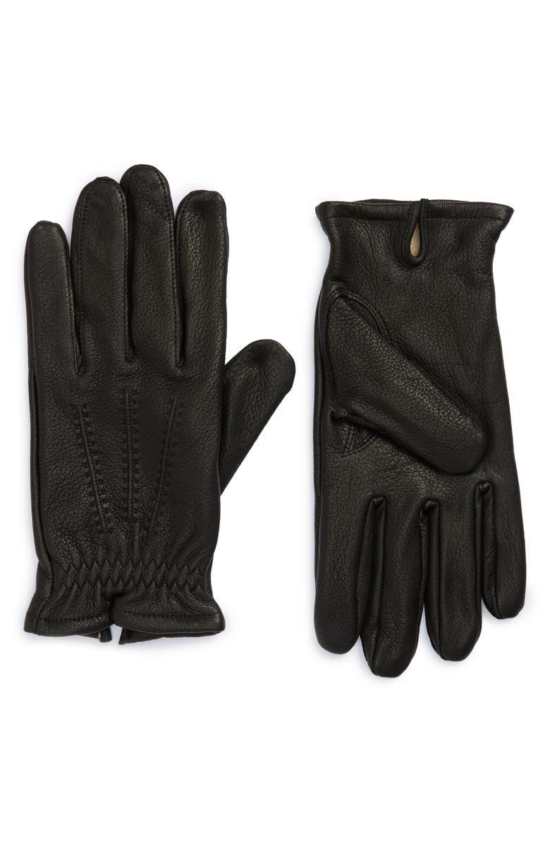 NORDSTROM MEN'S SHOP Deerskin Leather Gloves, Main, color, 001