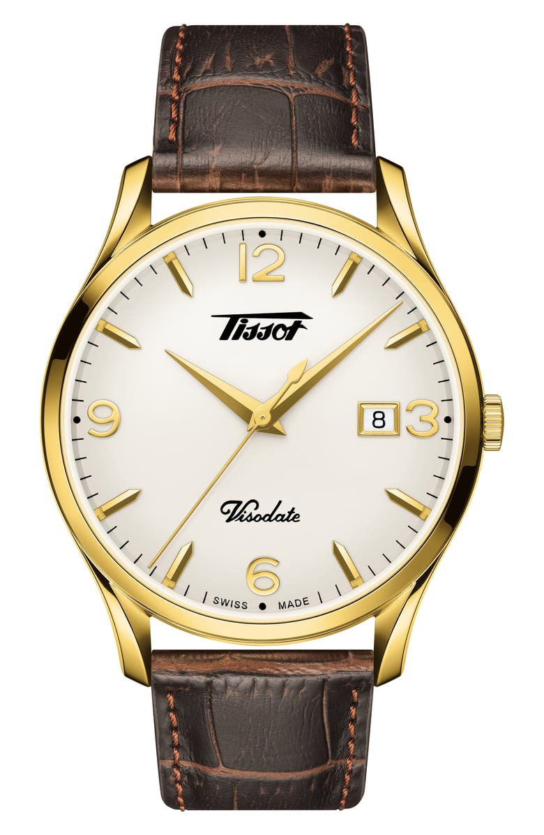 TISSOT Heritage Visodate Leather Strap Watch, 40mm, Main, color, BROWN/ WHITE/ GOLD