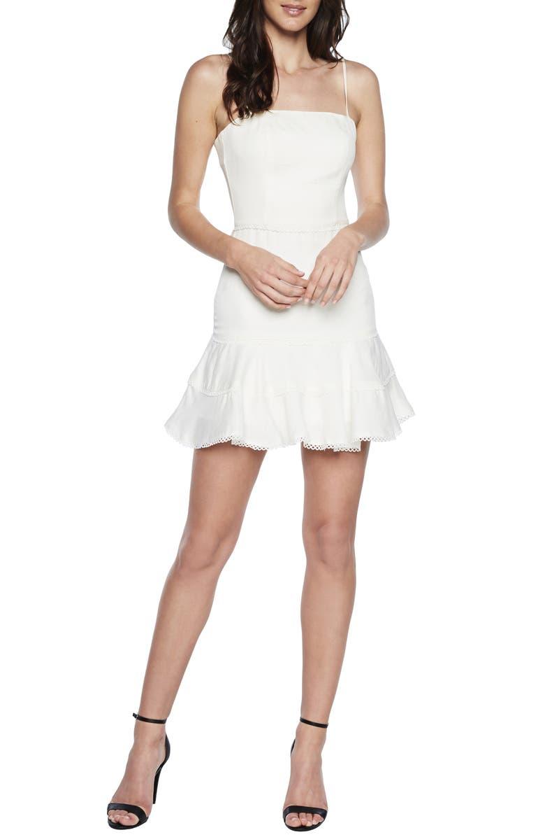 BARDOT Priano Trim Sleeveless Minidress, Main, color, IVORY