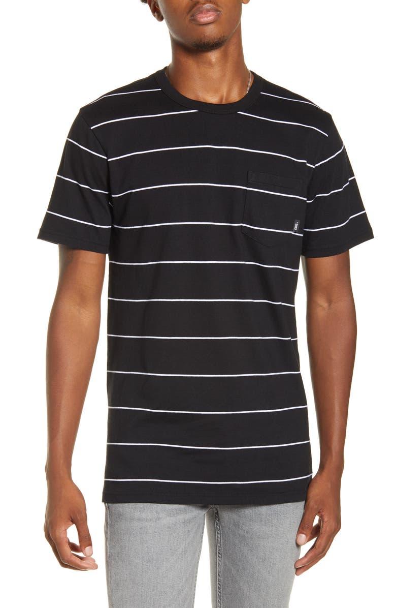 VANS Glenwood Stripe Pocket T-Shirt, Main, color, 001