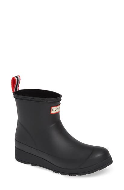 Hunter Original Play Insulated Short Rubber Wellington Boots In Black