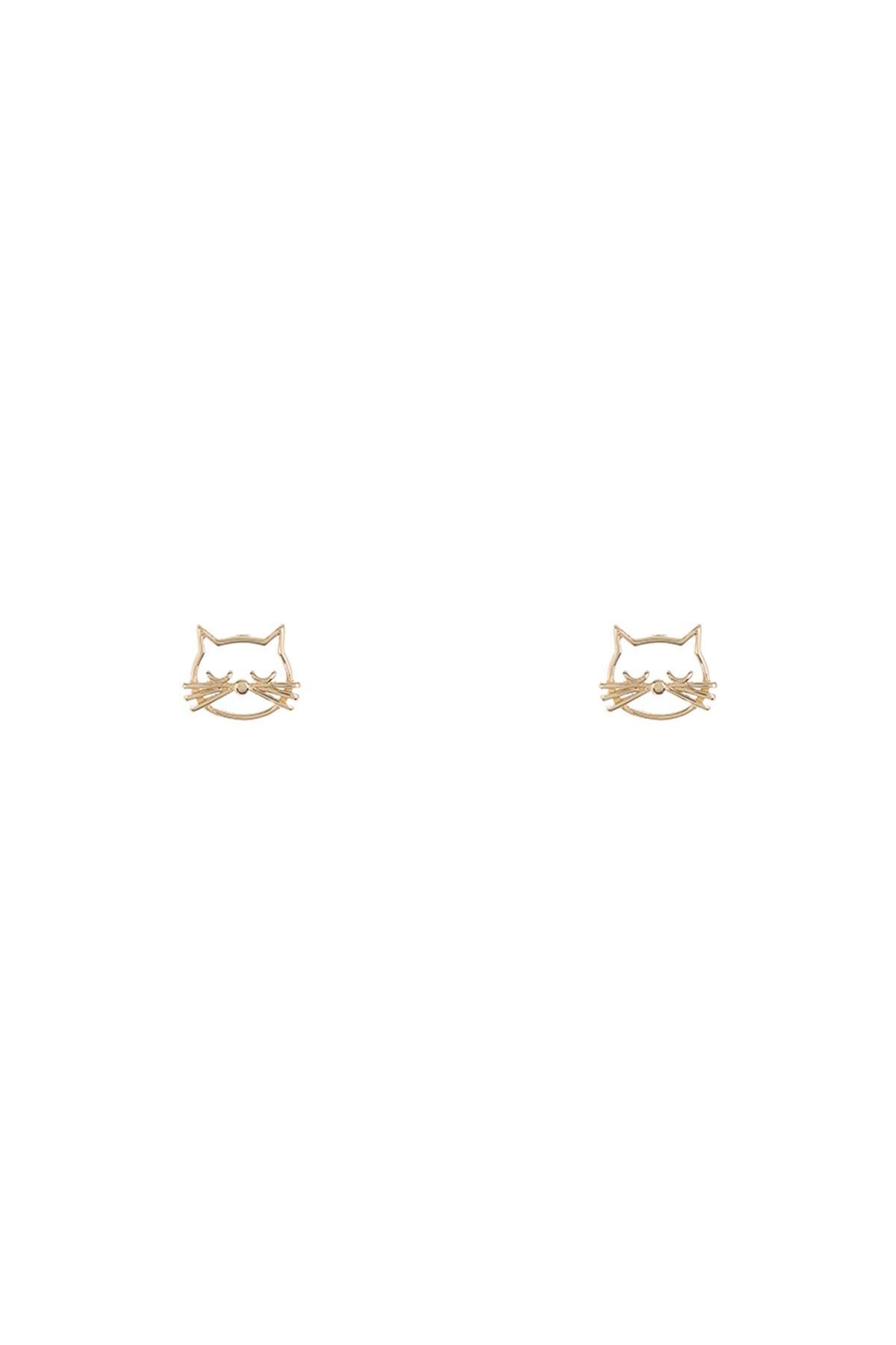 Image of KARAT RUSH 14K Yellow Gold Mini Cat Stud Earrings