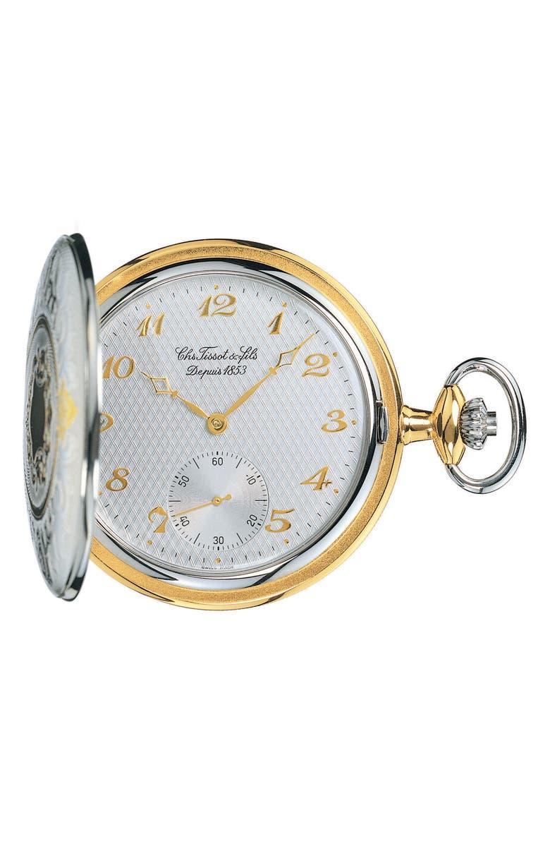 TISSOT Savonnette Pocket Watch, 49mm, Main, color, SILVER/ BRASS