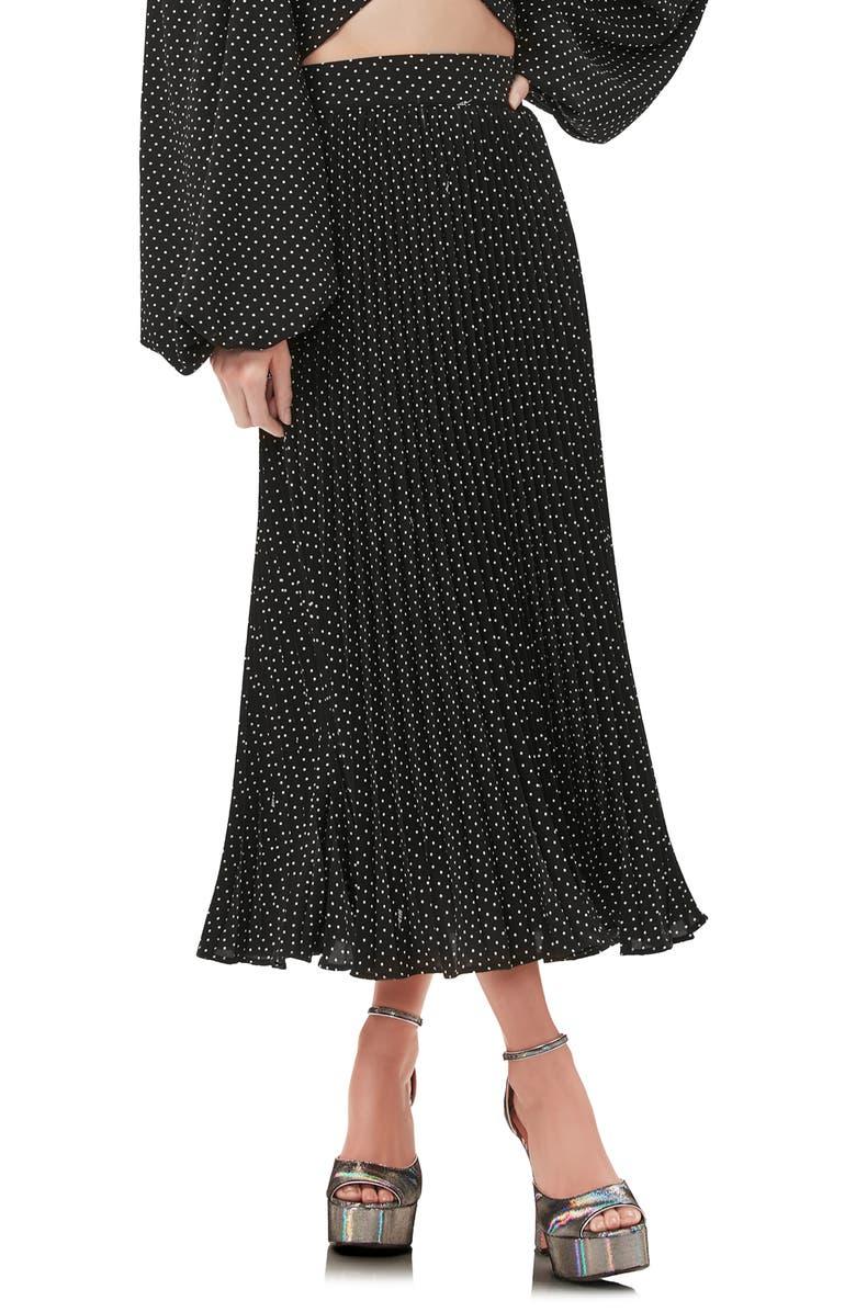 AFRM Dilan Pleated Midi Skirt, Main, color, NOIR POLKA DOT