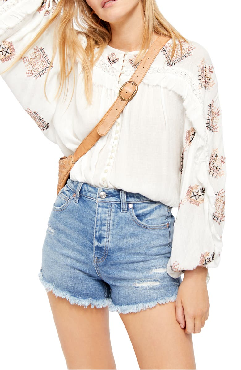 FREE PEOPLE Sweet Emotion Embroidered Blouse, Main, color, IVORY