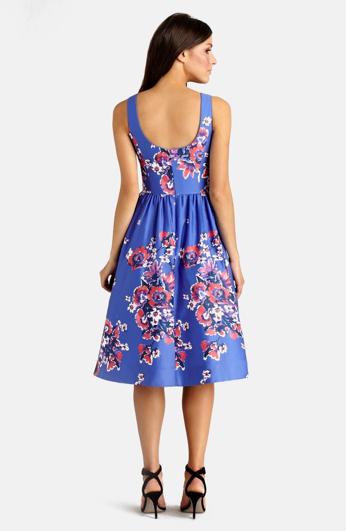 ,                             Print Cotton Blend Midi Dress,                             Alternate thumbnail 4, color,                             541