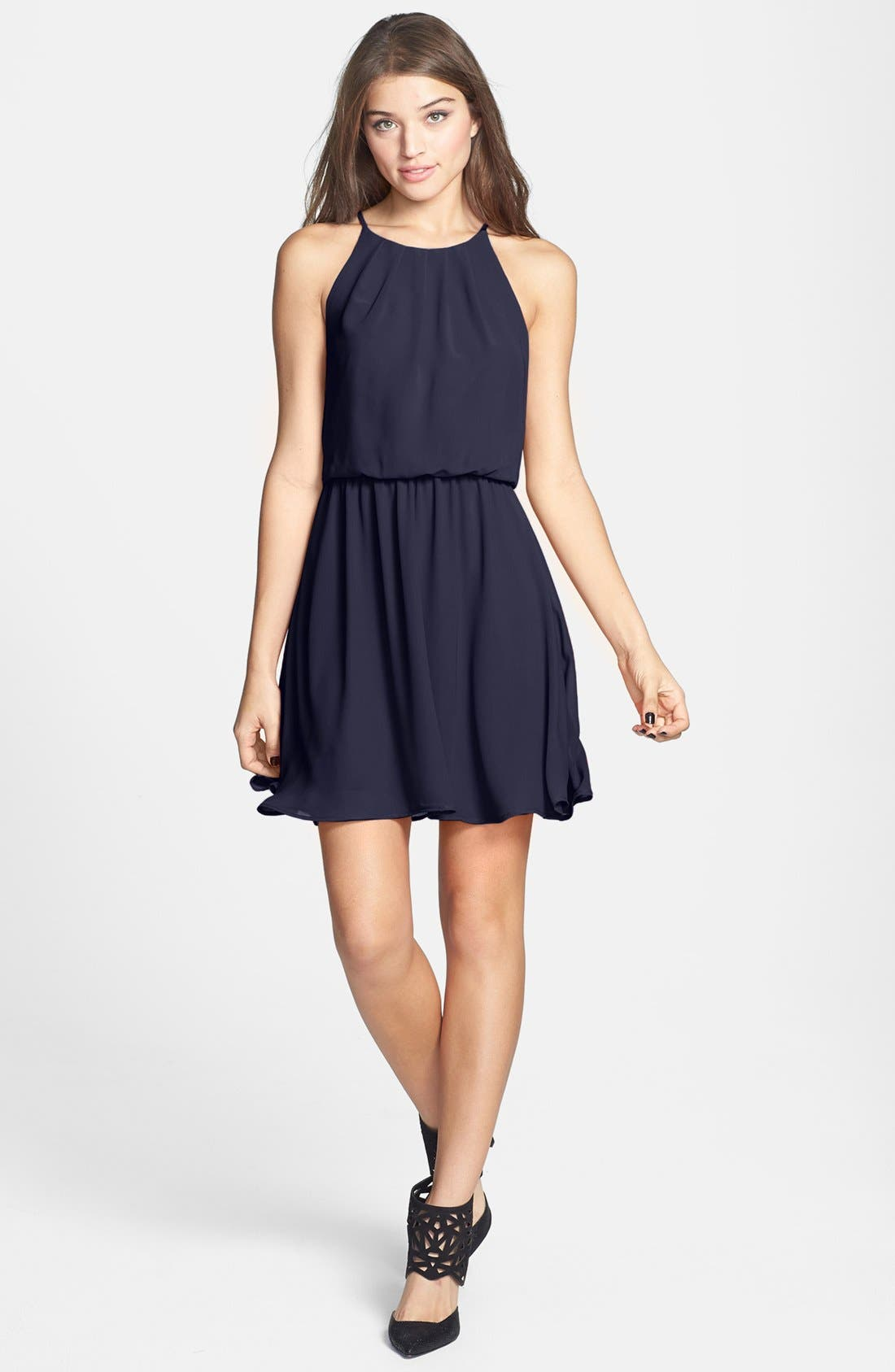 ,                             Blouson Chiffon Skater Dress,                             Main thumbnail 132, color,                             410