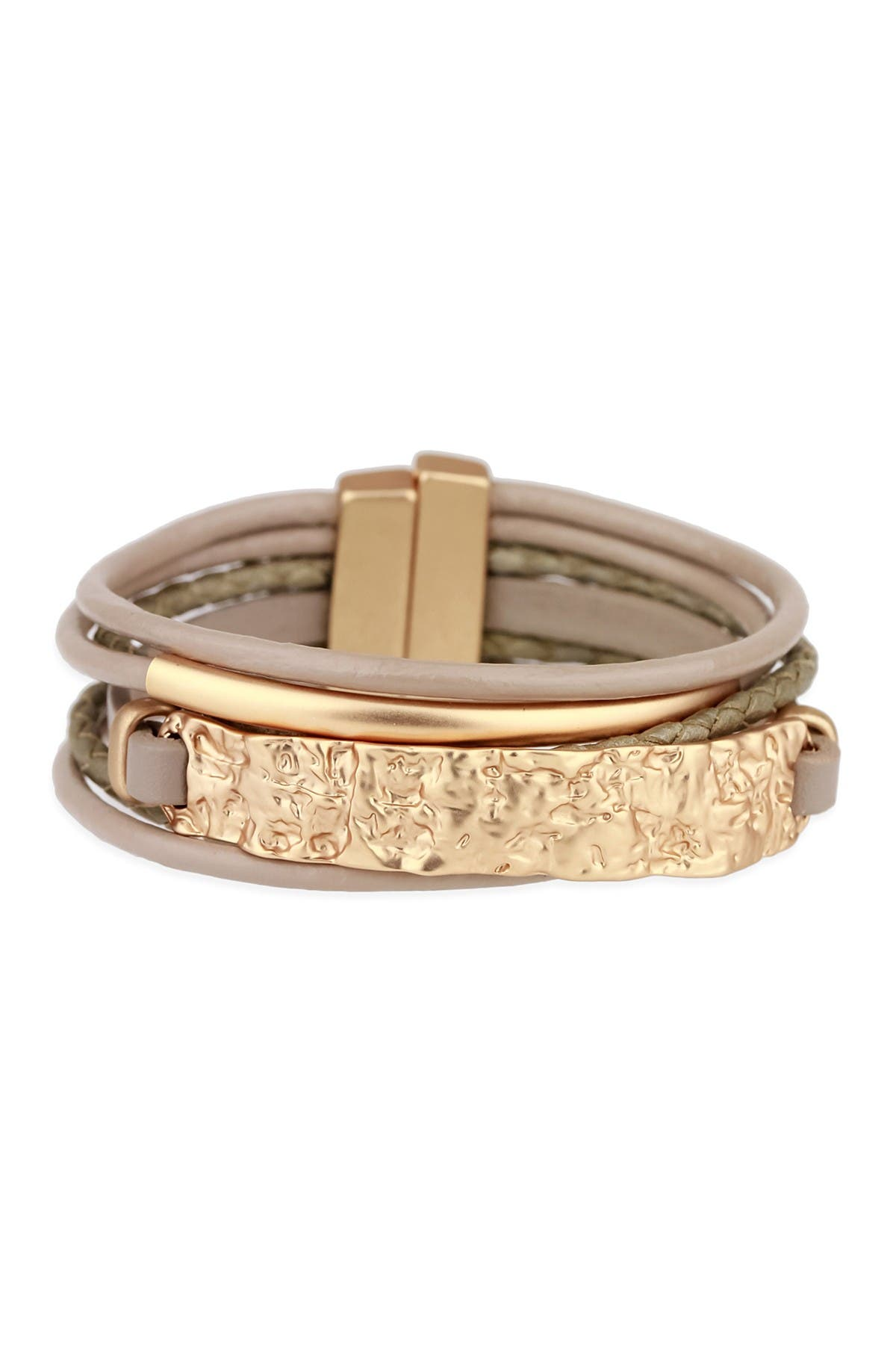 Image of Saachi Taupe Unpaved Bar Leather Bracelet