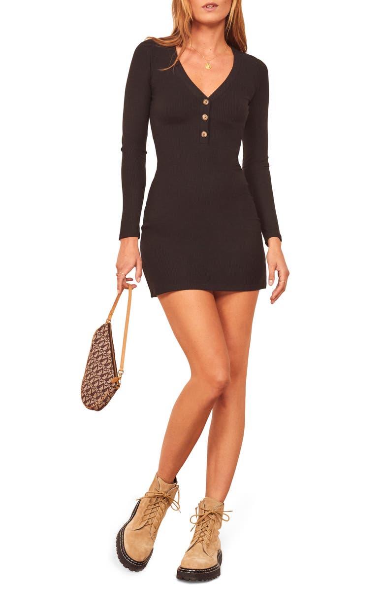 REFORMATION Jani Long Sleeve Ribbed Minidress, Main, color, BLACK